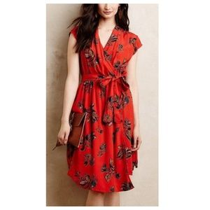 Maeve Noronha Orange Floral Wrap Dress